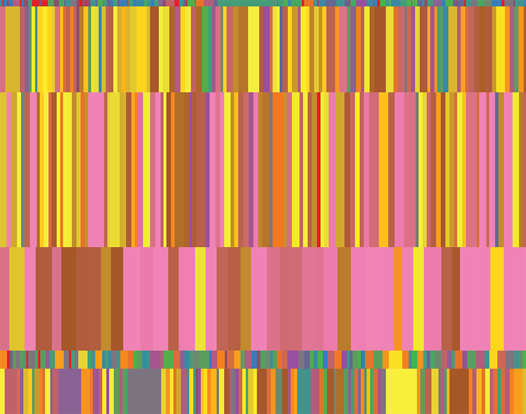 photo of This visualization shows statistics about certain TED talks. The dataset was compiled by Sebastian Wernicke for his TED talk on Lies, damned lies and statistics. Each of the boxes represents the engagement score for a certain TED talk. The colors depend on the total number of del.icio.us bookmarks for that certain TED talk. The coloring was done in 8 equally dense bins with pink being highest and red being lowest. The colors here try to capture the variety and charismatic excellence of the TED talks.