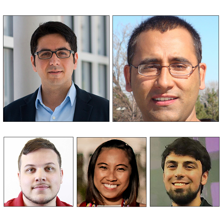 photo of (Top left-right) Soheil Feizi, Mohammad Nayeem Teli: (Bottom left to right) Gregory Harris, Katrina de los Reyes, Ajeet Gary