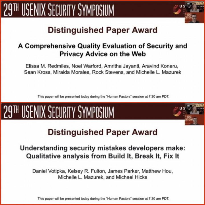 Descriptive image for Mazurek's Research Team Receives Two Distinguished Paper Awards at the 29th USENIX Security Symposium