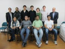 UMD's ACM Programming Teams, with Mohammad Hajiaghayi (standing, left) and Samir Khuller (standing, right).