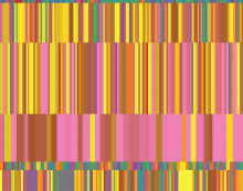 This visualization shows statistics about certain TED talks. The dataset was compiled by Sebastian Wernicke for his TED talk on Lies, damned lies and statistics. Each of the boxes represents the engagement score for a certain TED talk. The colors depend on the total number of del.icio.us bookmarks for that certain TED talk. The coloring was done in 8 equally dense bins with pink being highest and red being lowest. The colors here try to capture the variety and charismatic excellence of the TED talks.