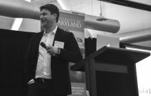 Zoosk co-founder Shayan Zadeh addresses Bay Area alumni in Palo Alto, CA during an event in March, 2014