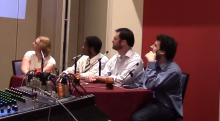 The team of human players that competed against QANTA. Video screenshot courtesy of Jordan Boyd-Graber. From left to right: Kristin Sausville, Colby Burnett, Ben Ingram, Alex Jacob.