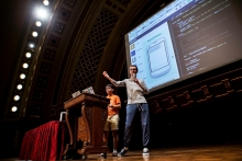 Descriptive image for Sean Bae and Colin King, CS '18, Take Prizes at MHacks VI