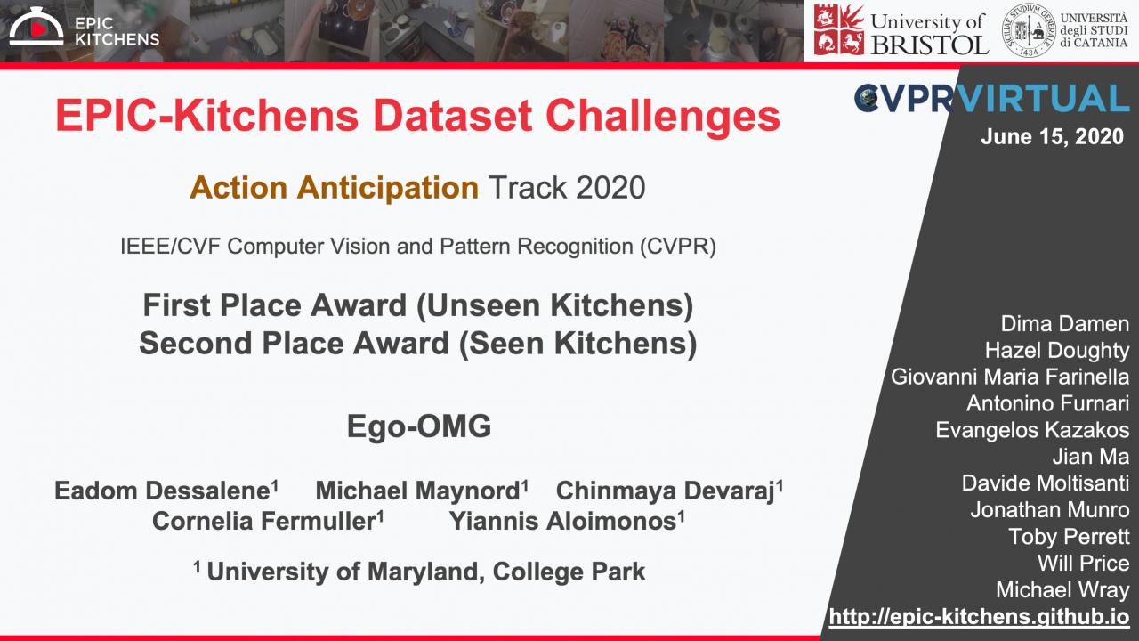 Descriptive image for CS Team Wins at the  Epic Kitchen Action Anticipation Challenge