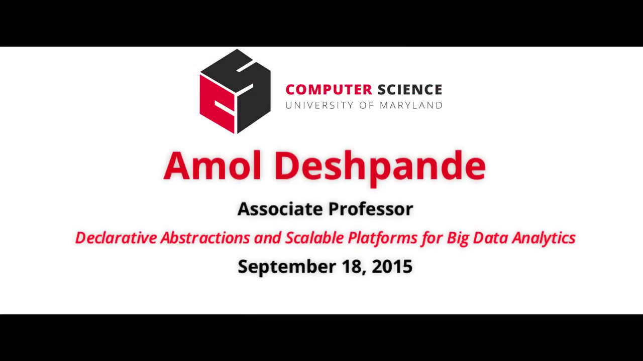Video title card for 2015 Colloquium Deshpande