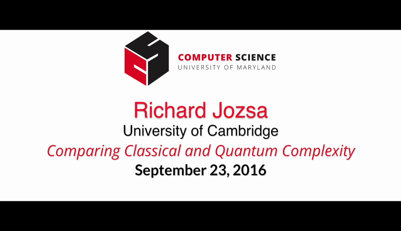 Video title card for 2016 Colloquium Jozsa