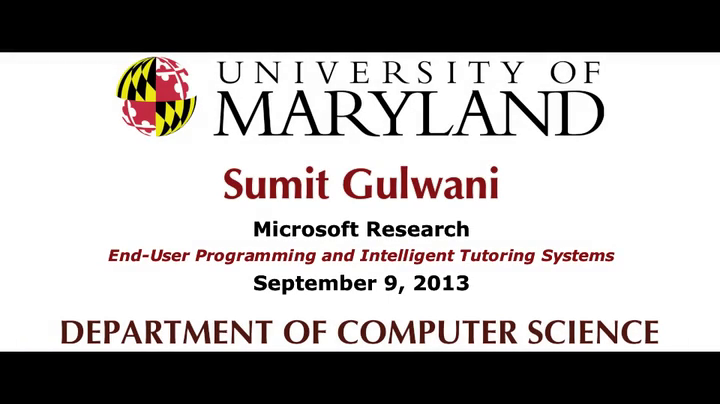 Video title card for Gulwani - End User Programming and Intelligent Tutoring Systems