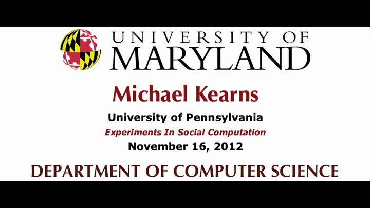 Video title card for Kearns - Experiments in Social Computation